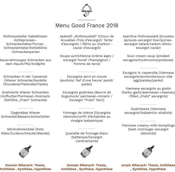 MenueGoodFrance 2018, Delikatessen von der Weinbergschnecke