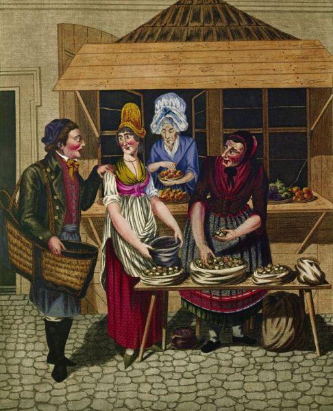 Schnecken-Verkäuferinnen am Schnecken-Markt Petersplatz.. Im Alten Rom (750 v. Chr.) erlebten die Schneckenihren ersten Aufschwung.Schließlich verbreiteten sie sichals Nahrungsmittel in ganz Europa.