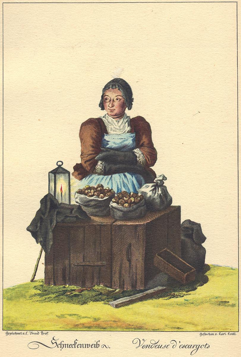 blickwerk_MG_6877, Kupferstich mit Schnecken-Frau, Wien als Schneckenhochburg. von Prato bis Hess in den Kochbüchern